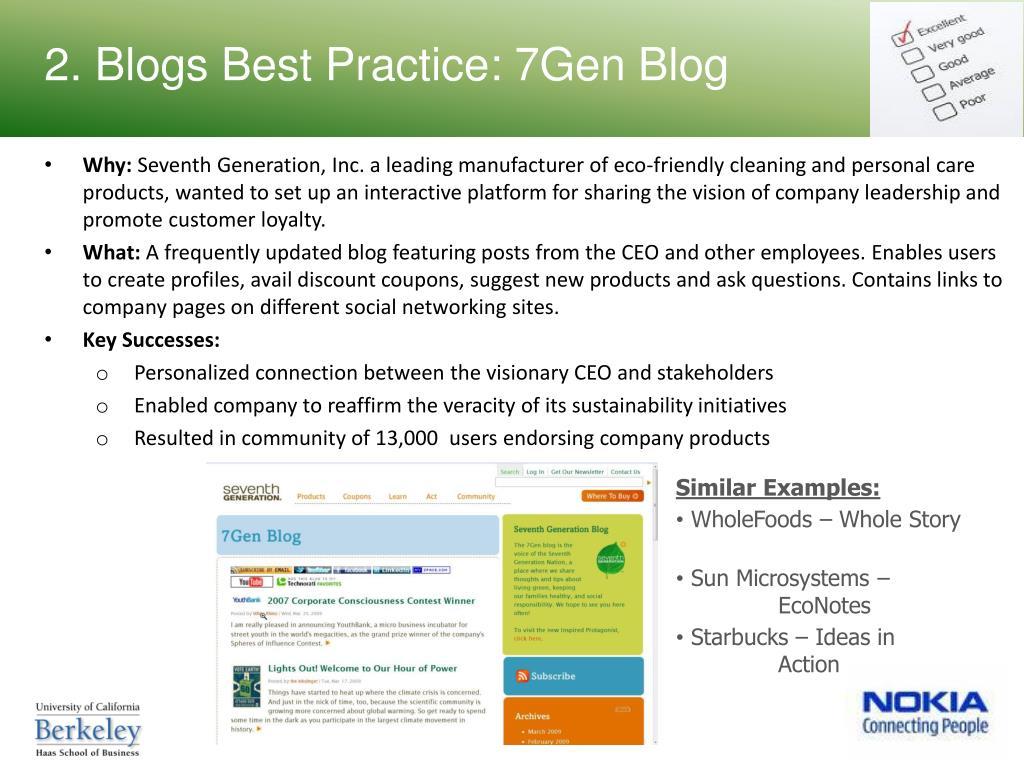 2. Blogs Best Practice: 7Gen Blog