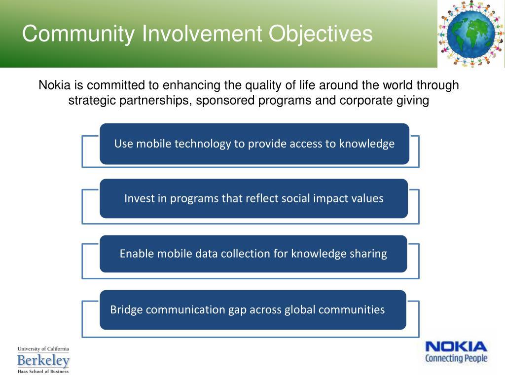 Community Involvement Objectives
