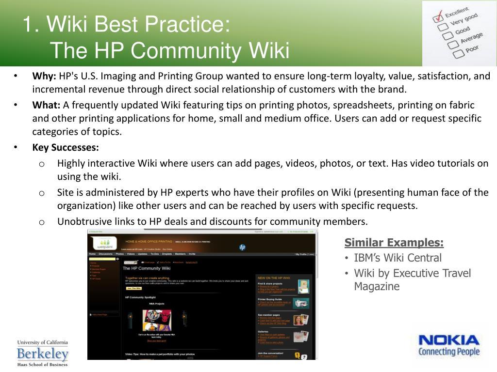1. Wiki Best Practice: