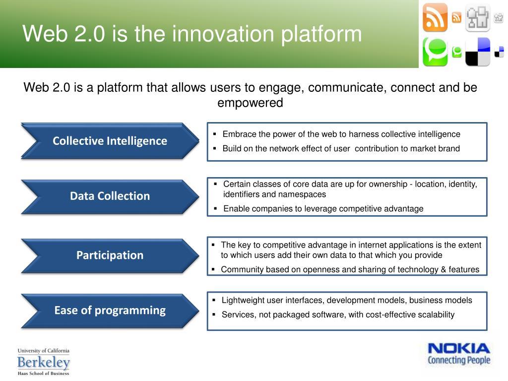 Web 2.0 is the innovation platform