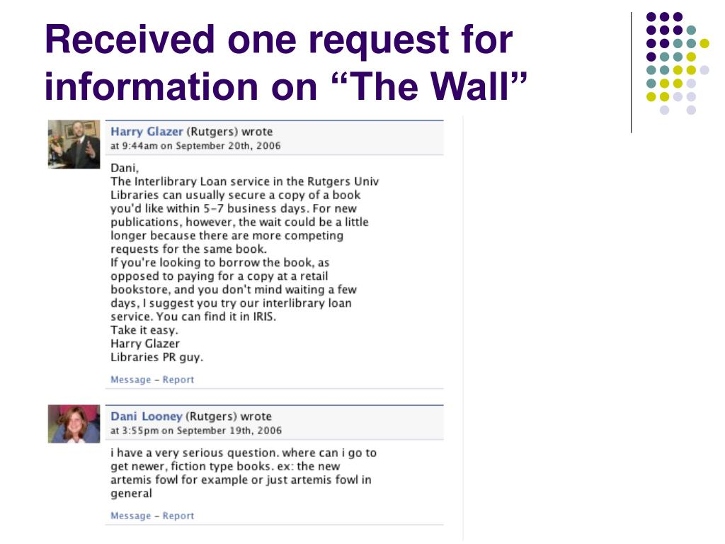 "Received one request for information on ""The Wall"""