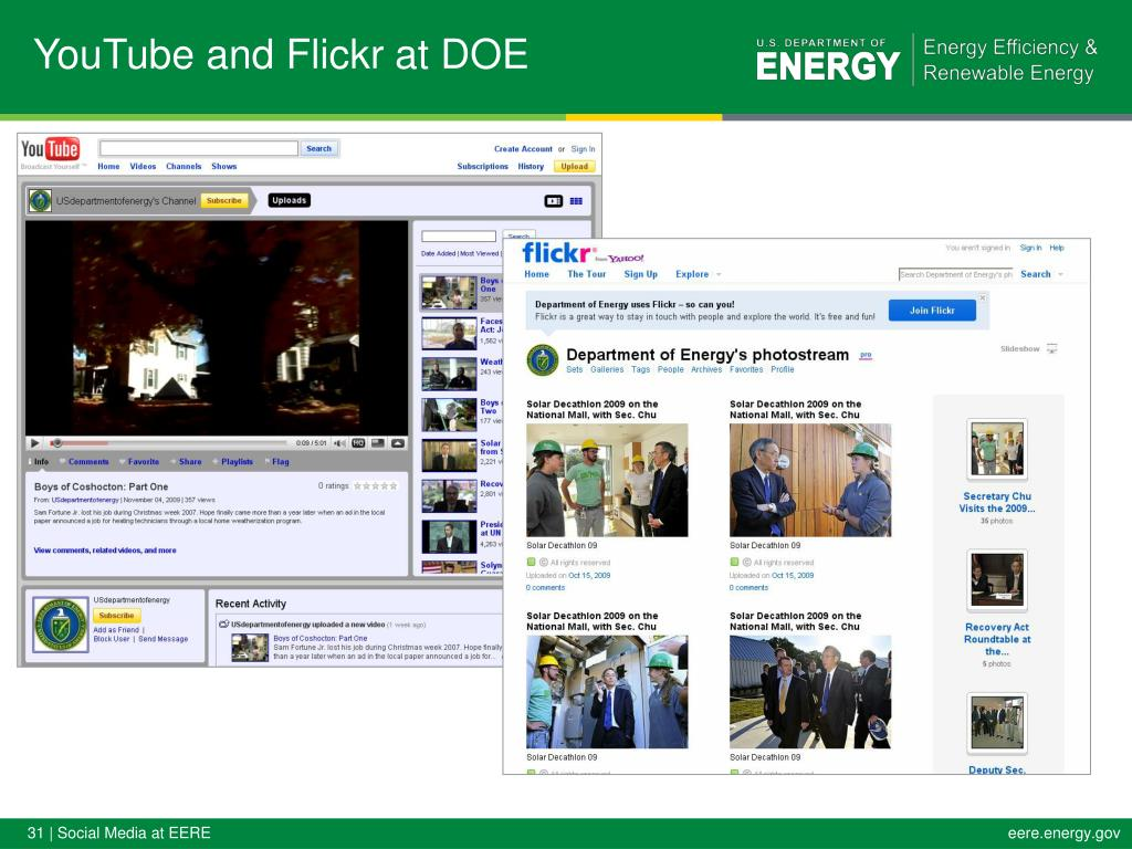 YouTube and Flickr at DOE
