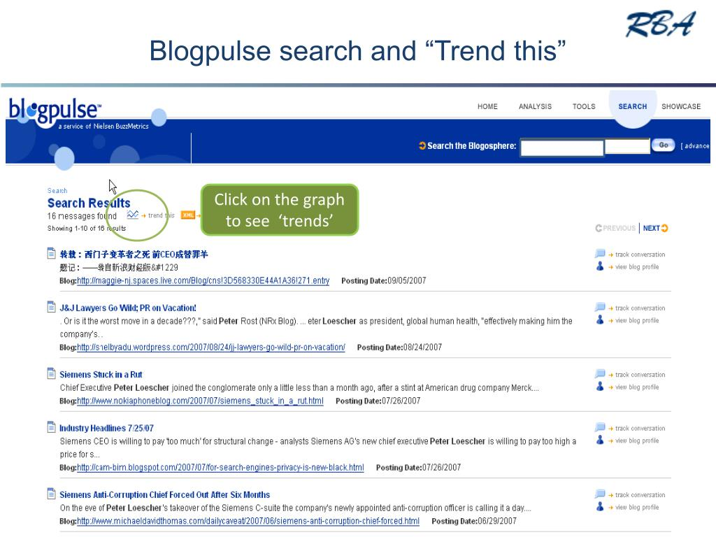 """Blogpulse search and """"Trend this"""""""