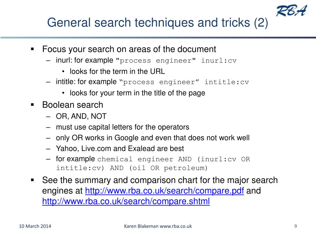 General search techniques and tricks (2)