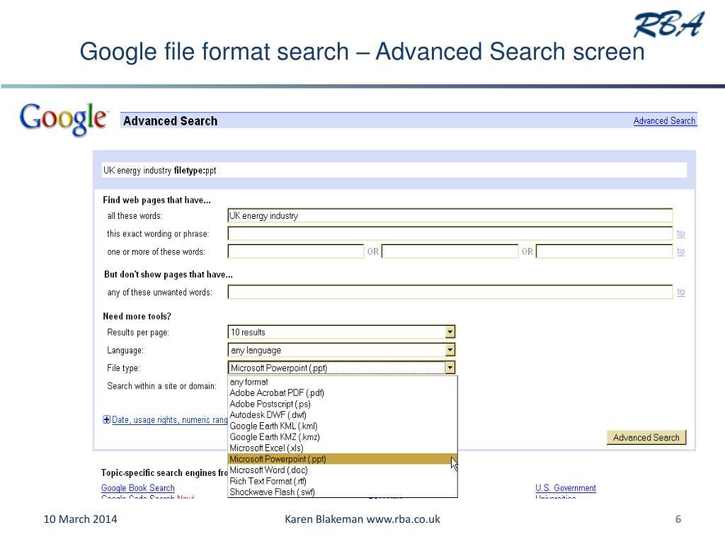 Google file format search – Advanced Search screen