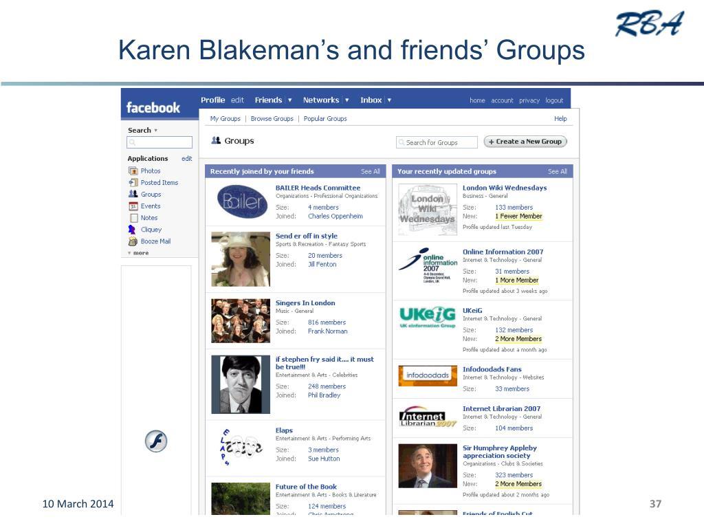 Karen Blakeman's and friends' Groups