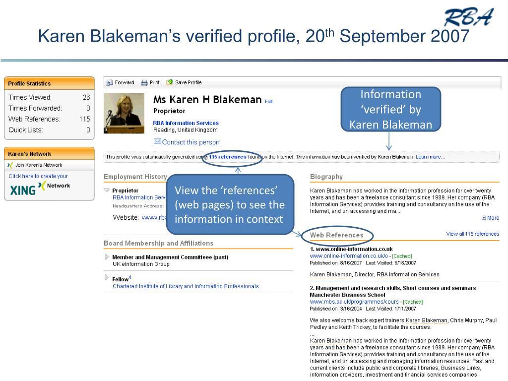 Karen Blakeman's verified profile, 20