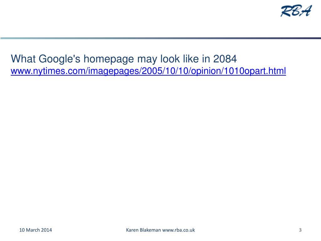 What Google's homepage may look like in 2084