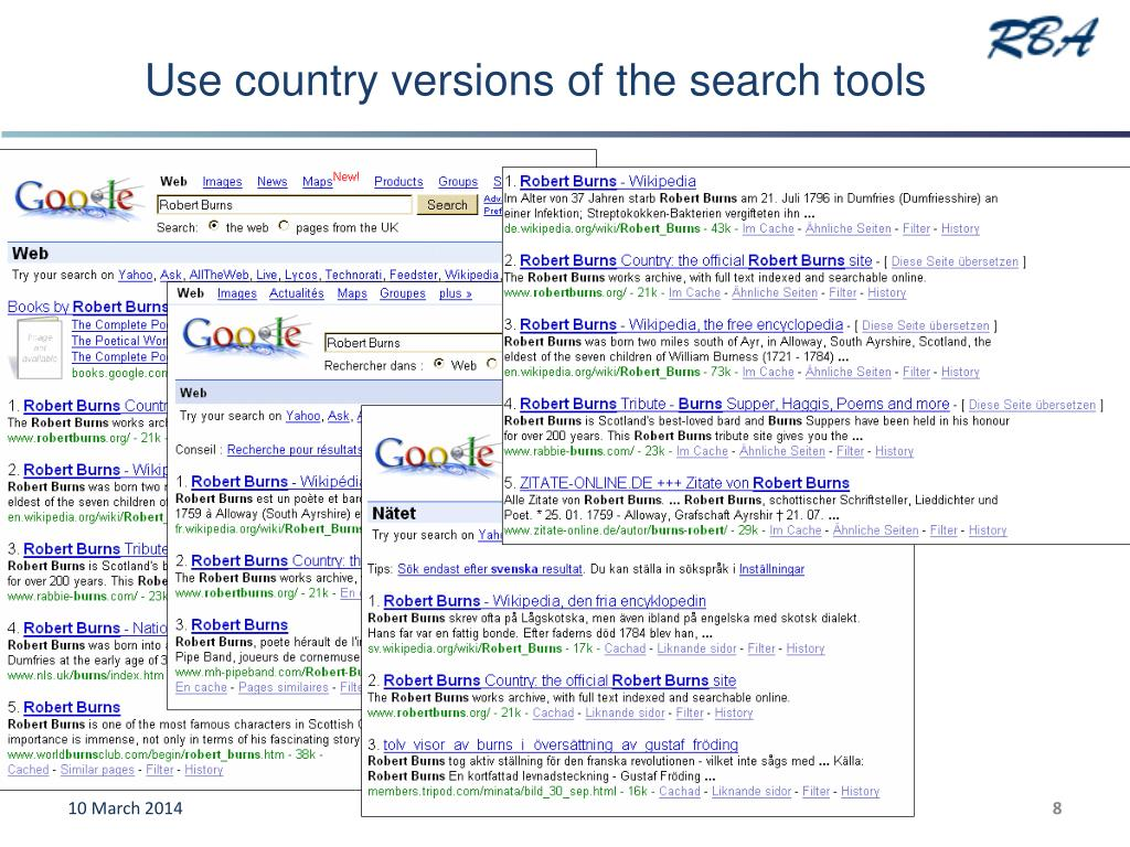Use country versions of the search tools