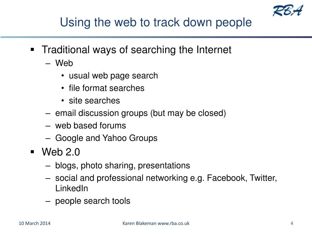 Using the web to track down people