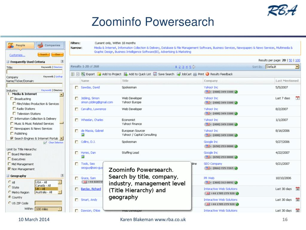 Zoominfo Powersearch