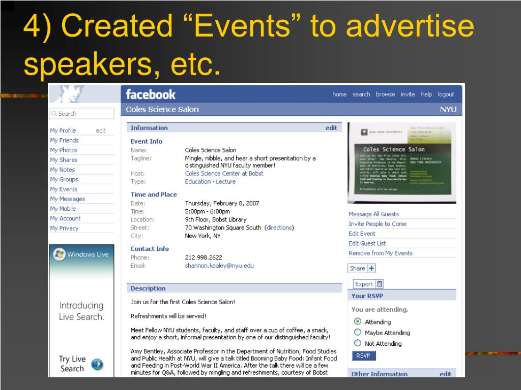"4) Created ""Events"" to advertise speakers, etc."