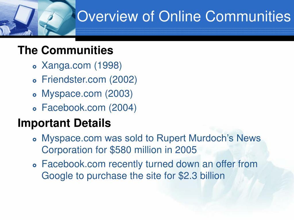 Overview of Online Communities