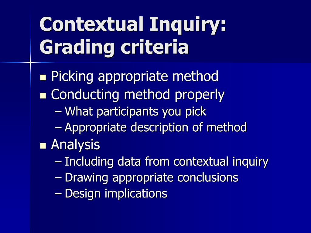 Contextual Inquiry: Grading criteria
