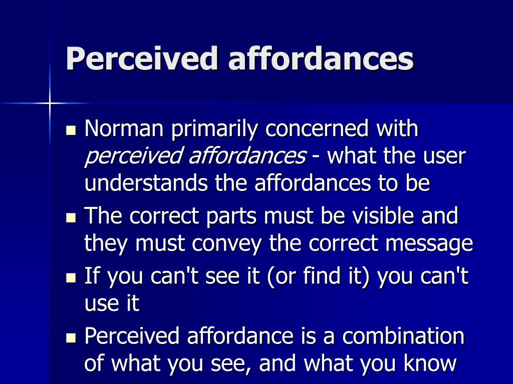 Perceived affordances