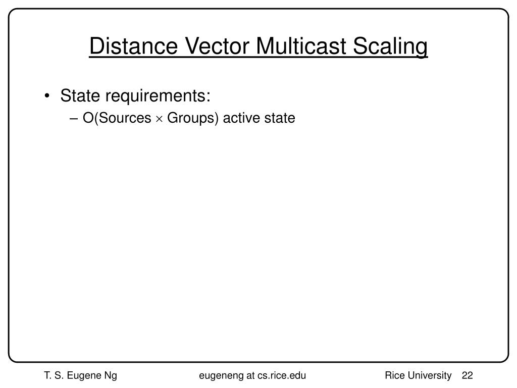 Distance Vector Multicast Scaling