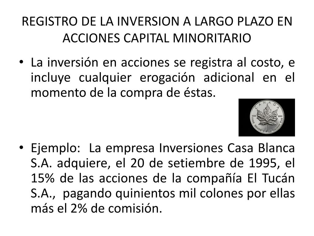 REGISTRO DE LA INVERSION A LARGO PLAZO EN ACCIONES CAPITAL MINORITARIO