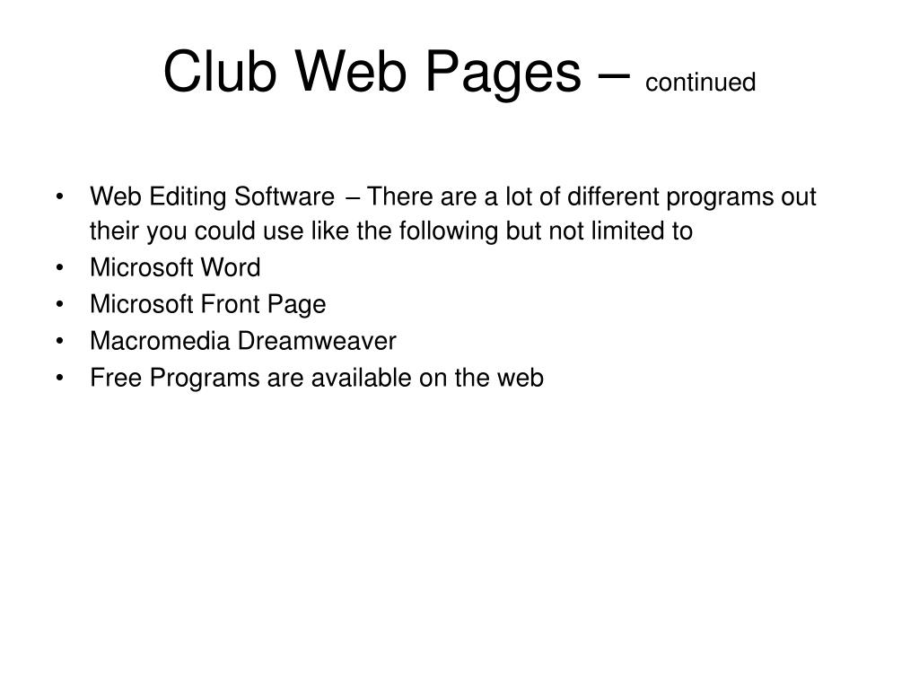 Club Web Pages –