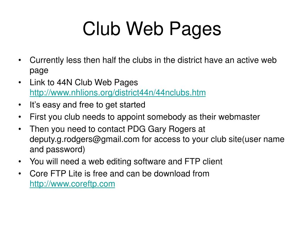 Club Web Pages