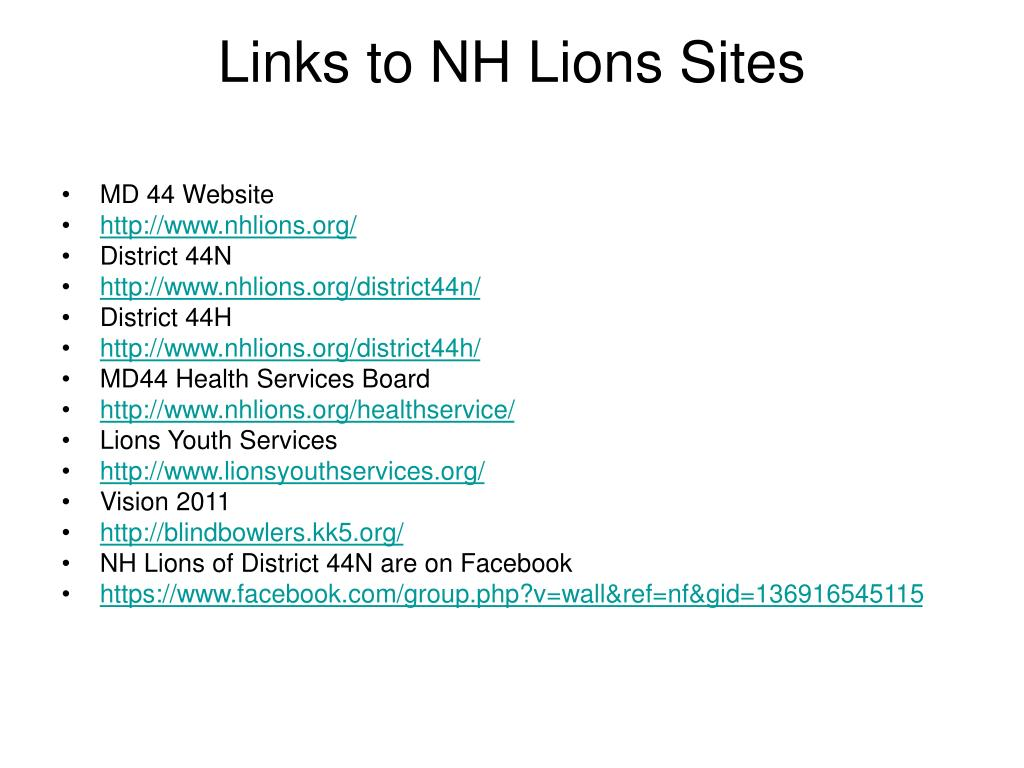 Links to NH Lions Sites