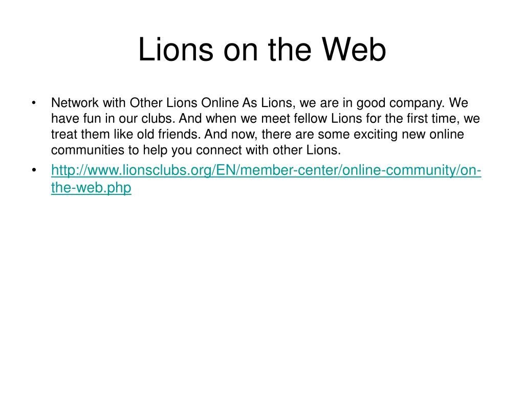 Lions on the Web