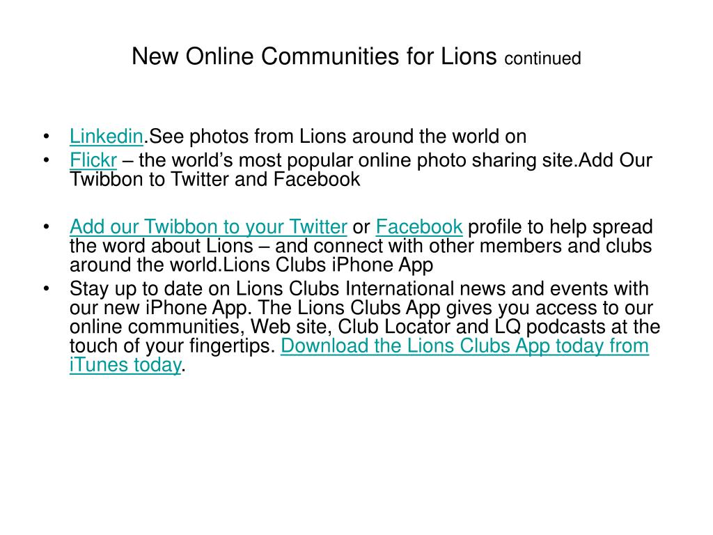 New Online Communities for Lions