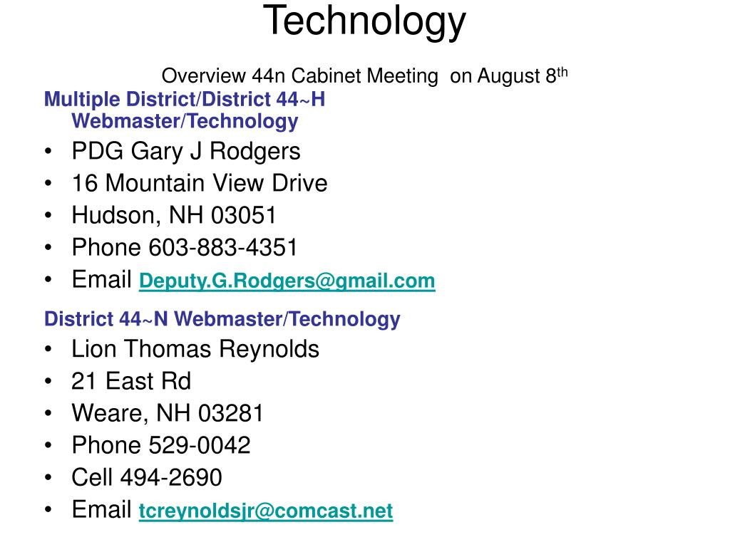 Multiple District/District 44~H Webmaster/Technology