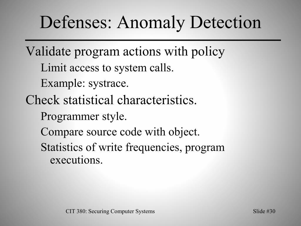 Defenses: Anomaly Detection