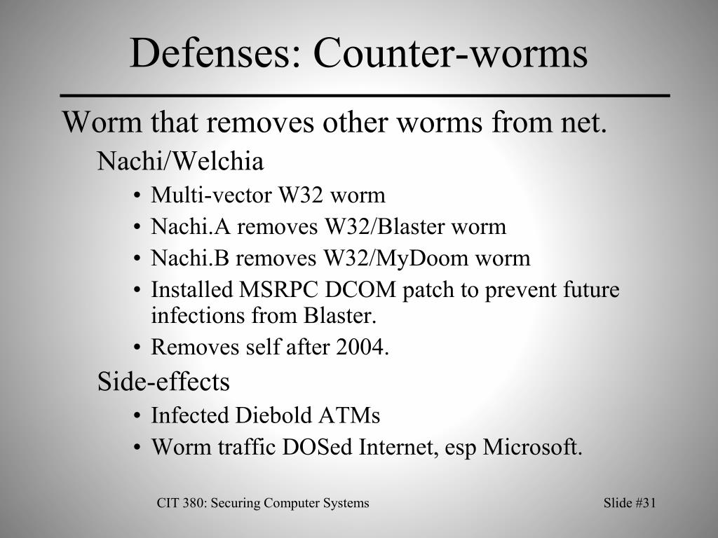 Defenses: Counter-worms