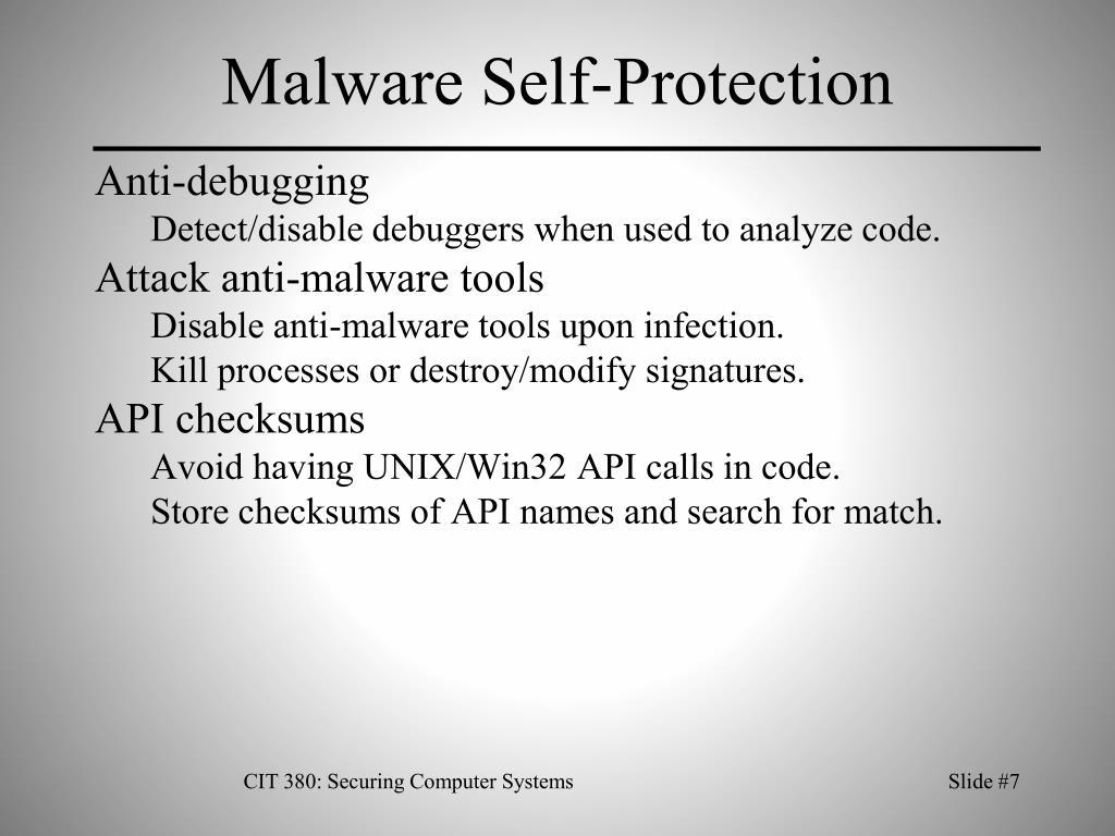 Malware Self-Protection