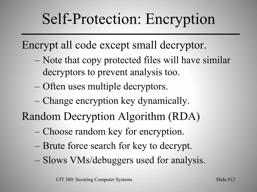 Self-Protection: Encryption