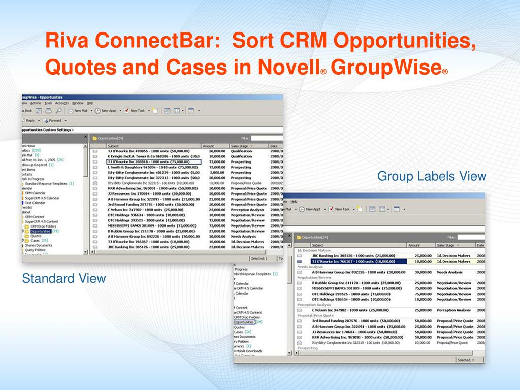Riva ConnectBar:  Sort CRM Opportunities, Quotes and Cases in Novell