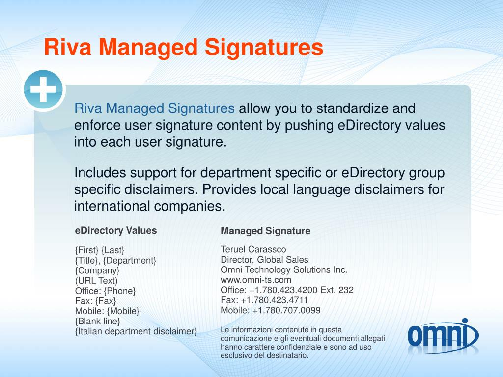 Riva Managed Signatures
