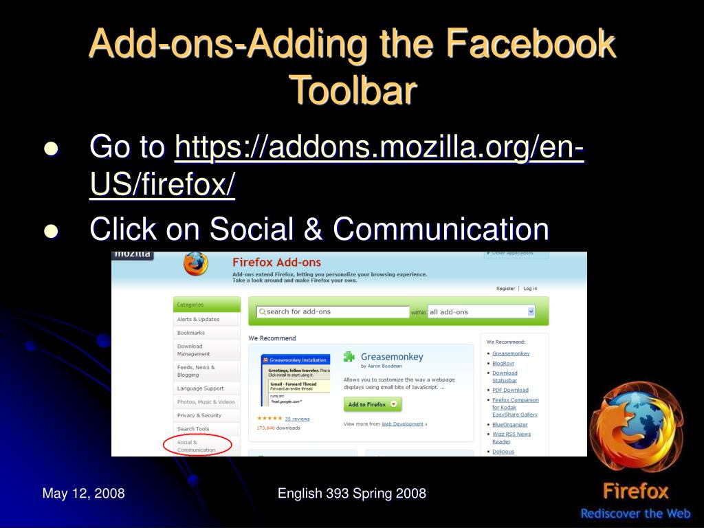 Add-ons-Adding the Facebook Toolbar