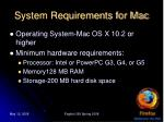 system requirements for mac