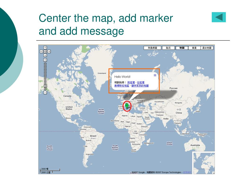 Center the map, add marker