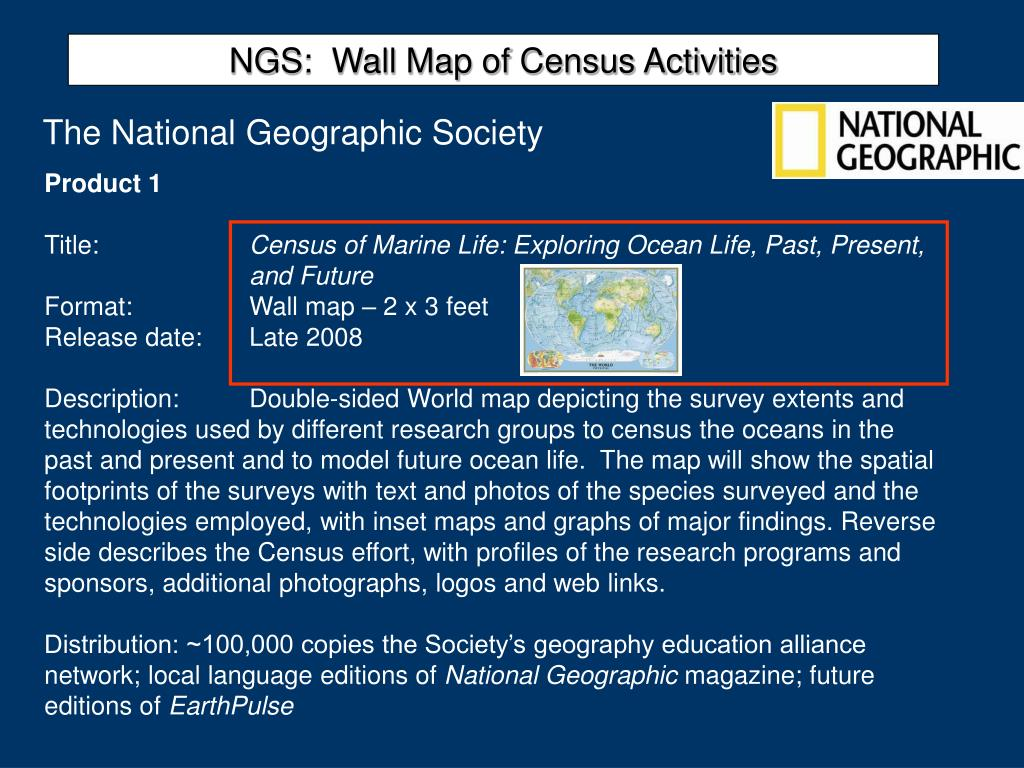 NGS:  Wall Map of Census Activities