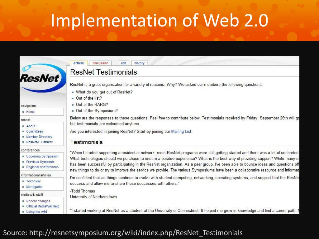 Implementation of Web 2.0