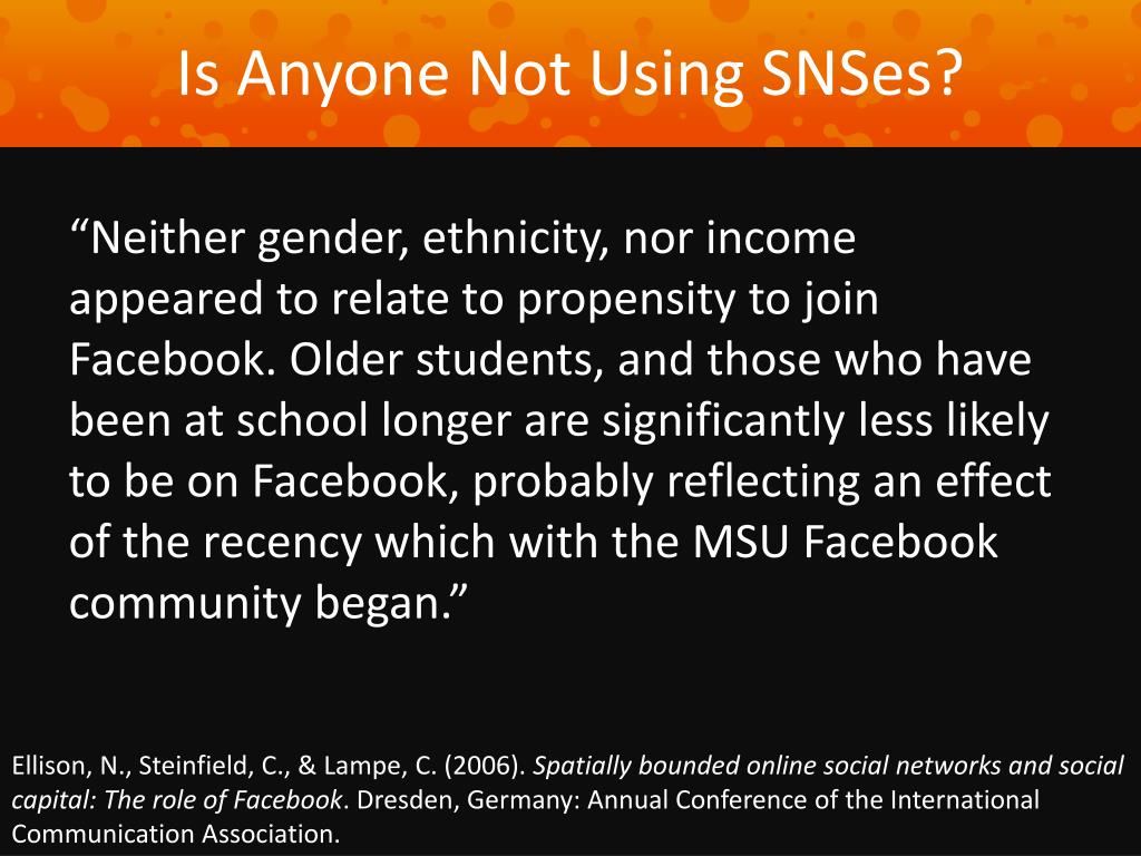 Is Anyone Not Using SNSes?