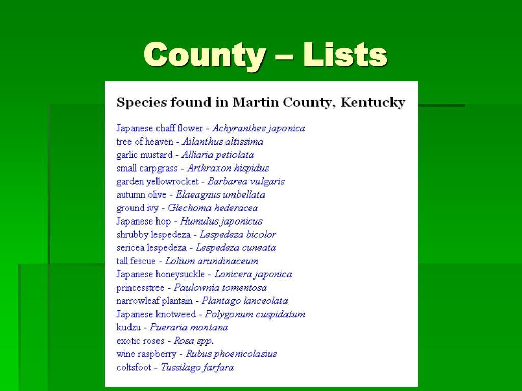 County – Lists