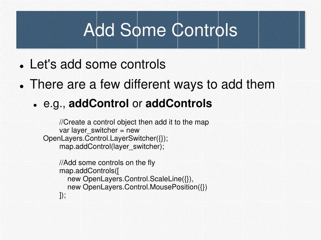 Add Some Controls