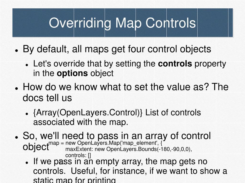 Overriding Map Controls