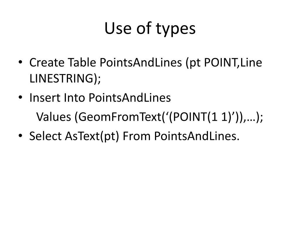 Use of types