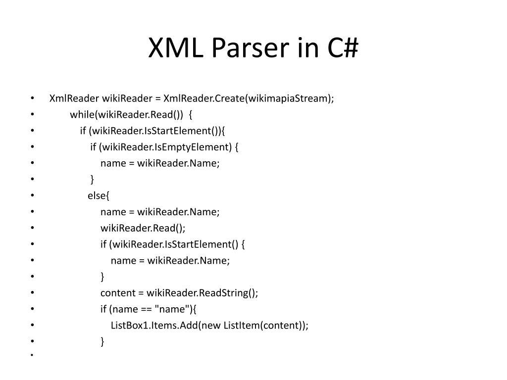 XML Parser in C#