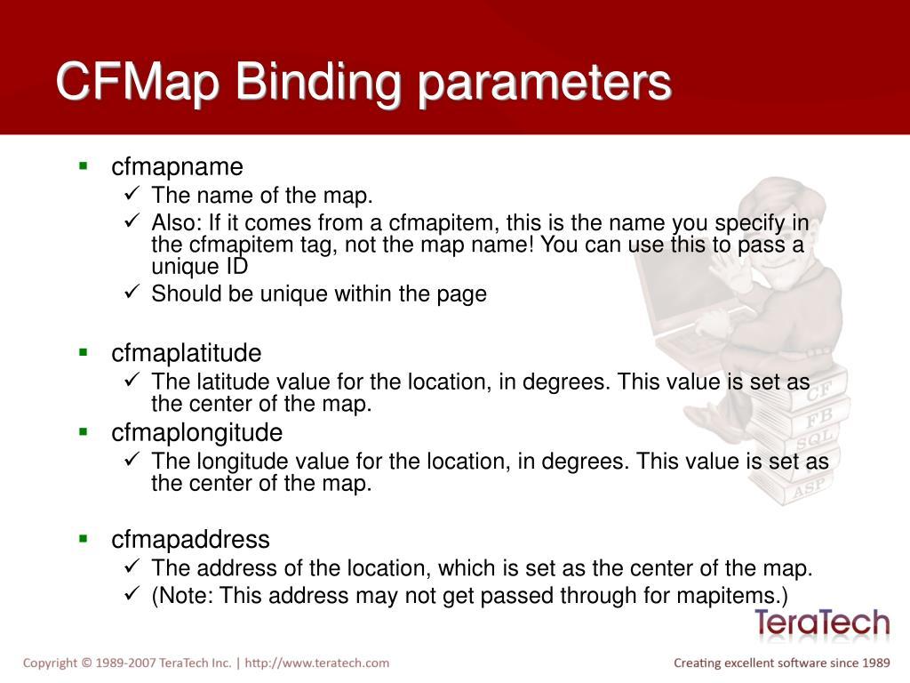 CFMap Binding parameters