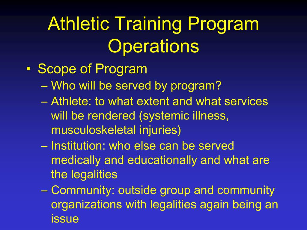 Athletic Training Program Operations