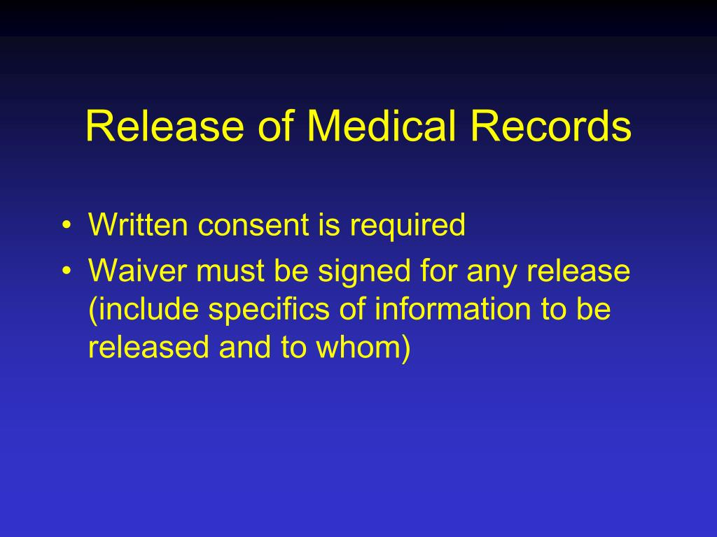 Release of Medical Records