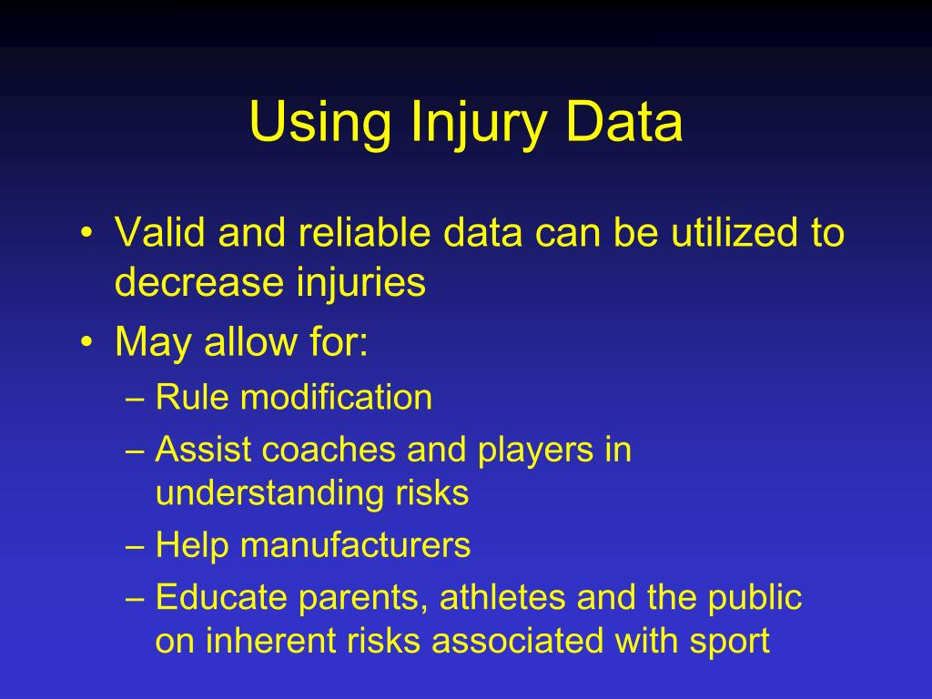 Using Injury Data
