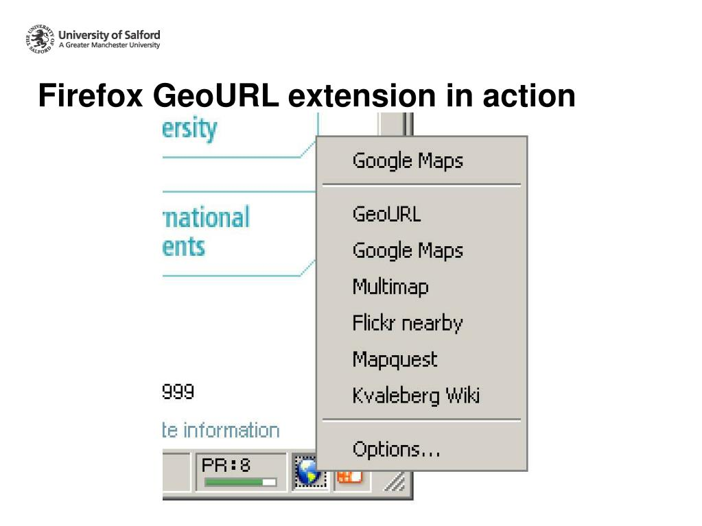 Firefox GeoURL extension in action