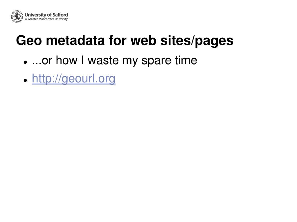 Geo metadata for web sites/pages